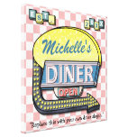 Create Your Own Custom Retro 50's Diner Sign Stretched Canvas Prints