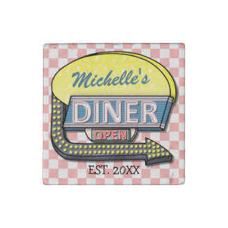 Create Your Own Custom Retro 50's Diner Sign Stone Magnet