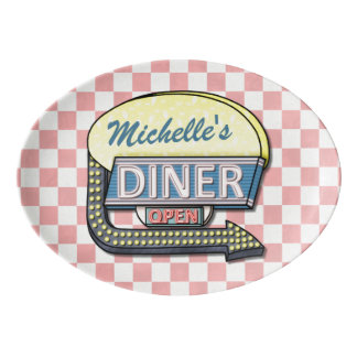 Create Your Own Custom Retro 50's Diner Sign Porcelain Serving Platter