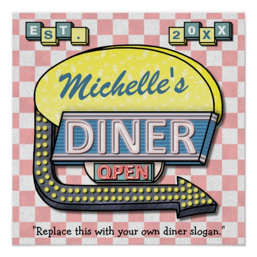 Create your own custom retro 50 39 s diner sign poster zazzle for Diner artwork