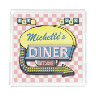 Create Your Own Custom Retro 50's Diner Sign Serving Tray
