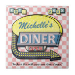Create Your Own Custom Retro 50's Diner Sign Small Square Tile