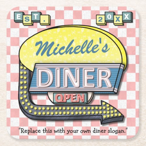 Create Your Own Custom Retro 50s Diner Sign Square Paper Coaster