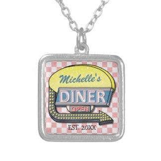 Create Your Own Custom Retro 50's Diner Sign Square Pendant Necklace