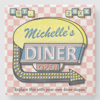 Create Your Own Custom Retro 50's Diner Sign Stone Coaster