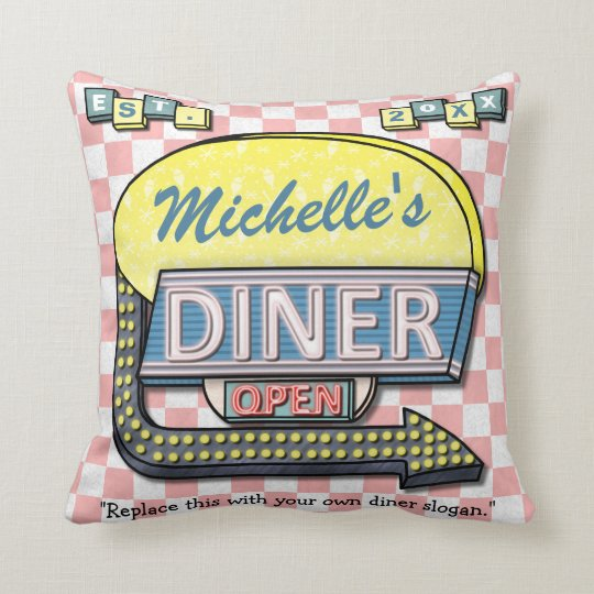 Create Your Own Custom Retro 50's Diner Sign Throw Pillow
