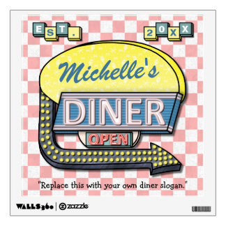 Create Your Own Custom Retro 50's Diner Sign Wall Sticker