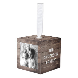 Create Your Own Custom Wood Family Photo Cube Ornament