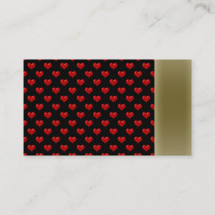 Romantic red and black hearts business cards templates zazzle create your own cute red hearts pattern on black business card reheart Image collections
