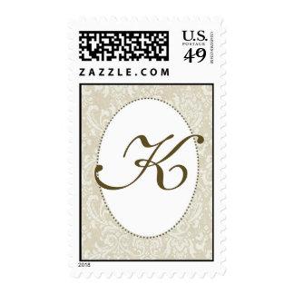 Create your own damask wedding stamp - Monogram K