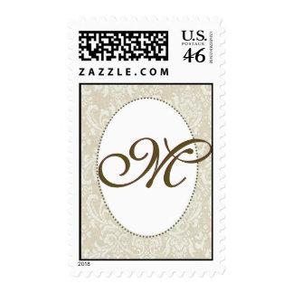 Create your own damask wedding stamp - Monogram M