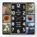 Create Your Own Deco 6 Photo Collage Black-White Square Wallclock