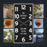 "Create Your Own Deco 6 Photo Collage Black-White Square Wall Clock<br><div class=""desc"">Make your own personalized photo collage clock with this easy template. This square, classy clock has white numbers lined up in the middle in a deco-style long rectangle and a plain black background that you can &quot;customize&quot; to whatever image or color you&#39;d like. Along the edges, there&#39;s room for you...</div>"