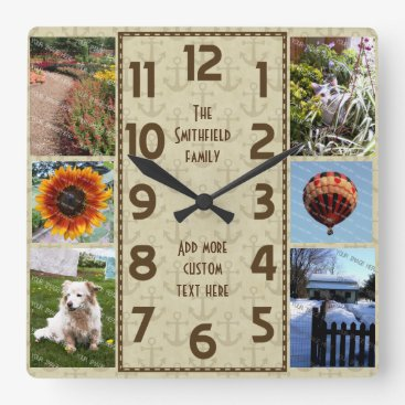 Beach Themed Create Your Own Deco 6 Photo Collage Brown Anchors Square Wall Clock