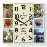 Create Your Own Deco 6 Photo Collage Marbled Square Wallclock