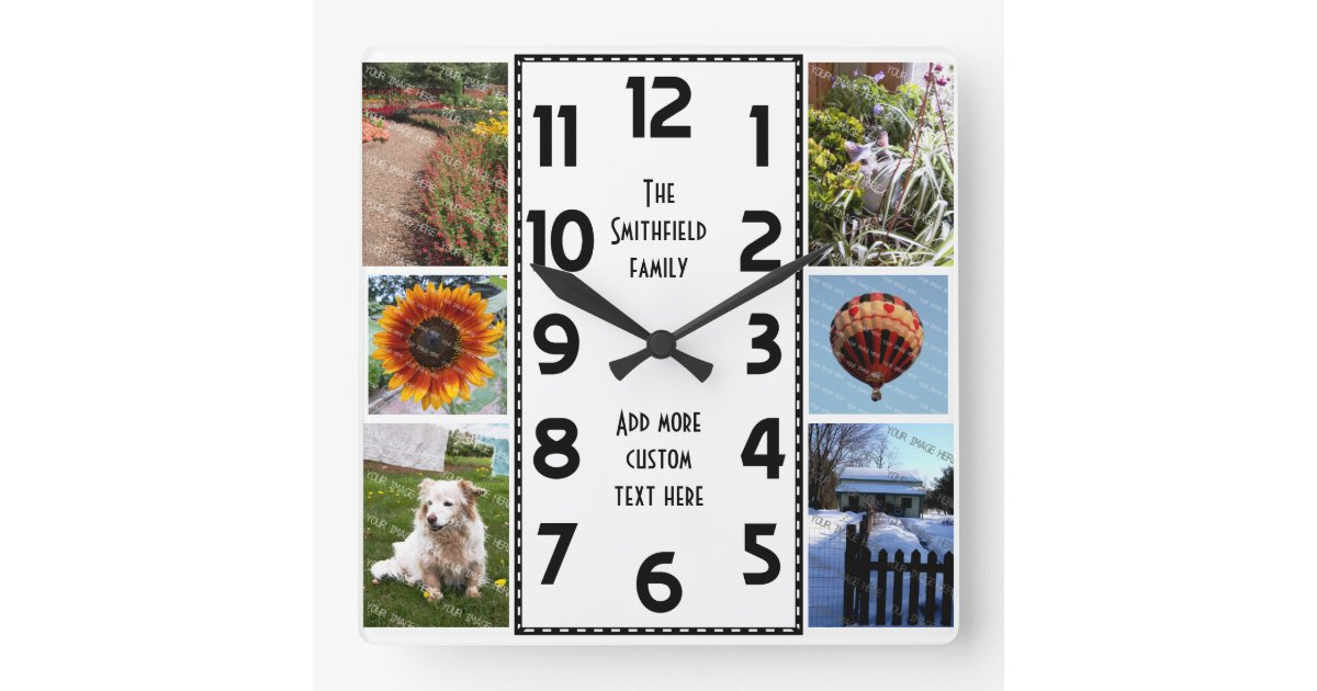 Create Your Own Deco 6 Photo Collage Square Wall Clock Zazzle