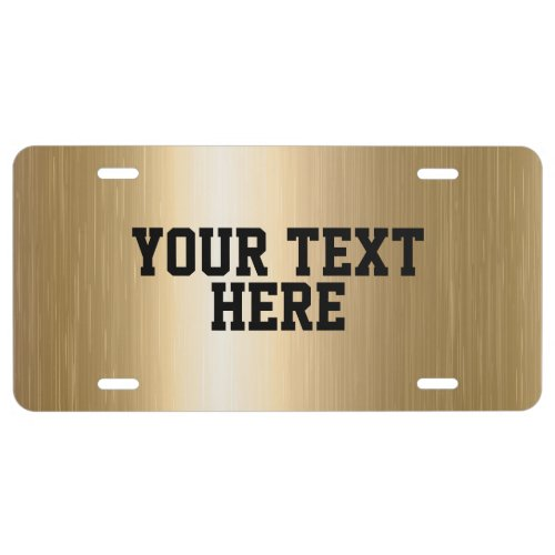 CREATE_YOUR_OWN DIY Custom upload  design gold License Plate