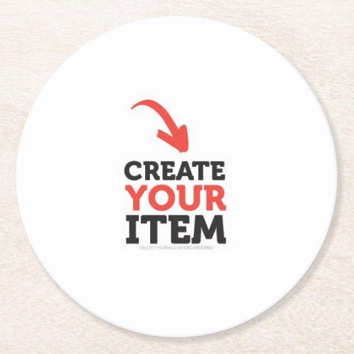 CREATE_YOUR_OWN DIY Custom upload wedding design Round Paper Coaster