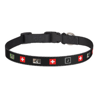 Create your own dogs photo collage Swiss flag Pet Collar