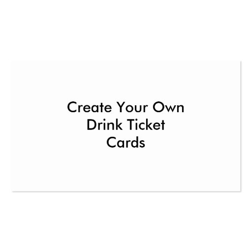 create your own drink ticket cards weddings sided