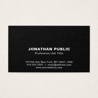 Create Your Own Elegant Black White Sleek Plain Business Card