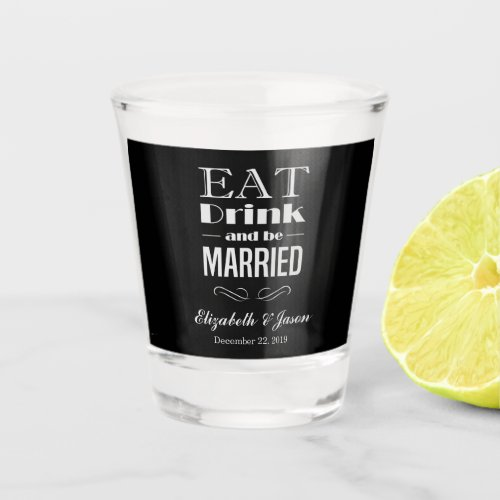 Create Your Own Elegant Black White Wedding Shot Glass
