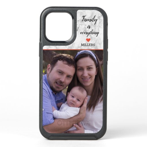 Create your Own Family Name Photo Marble OtterBox Symmetry iPhone 12 Case