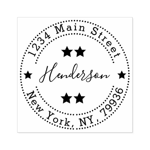 Create Your Own Family Name Round Return Address Rubber Stamp