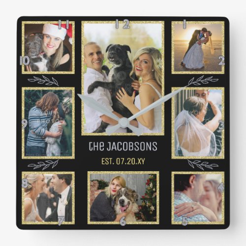 Create Your Own Family or Wedding 8 Photo Collage Square Wall Clock