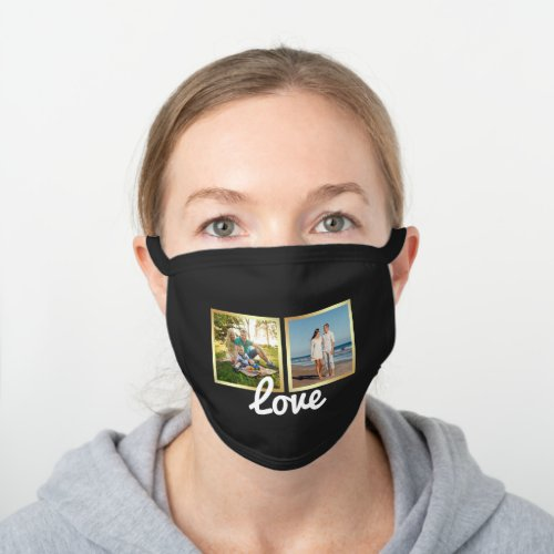 Create Your Own Family Photo Collage Black Cotton Face Mask