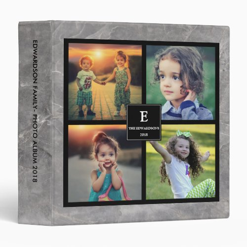 Create your own family photo collage gray marble 3 ring binder