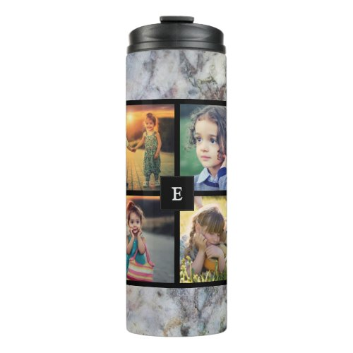 Create your own family photo collage gray marble thermal tumbler