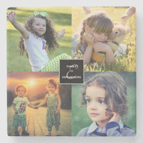 Create your own family photo collage monogram name stone coaster