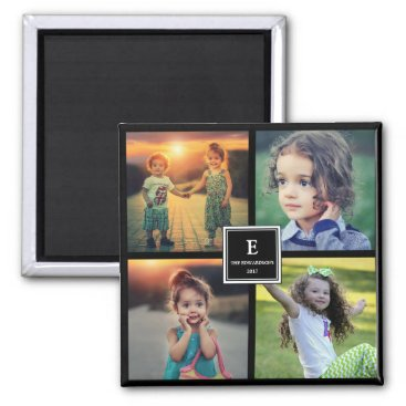 Create your own family photo collage monogrammed magnet