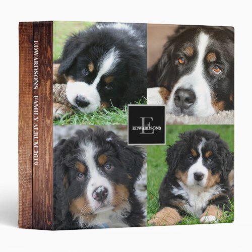 Create your own family photo collage rustic wood 3 ring binder