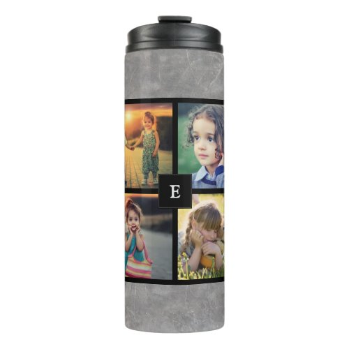 Create your own family photo collage stone marble thermal tumbler
