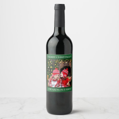 Create your own family photo Merry Christmas Wine Label