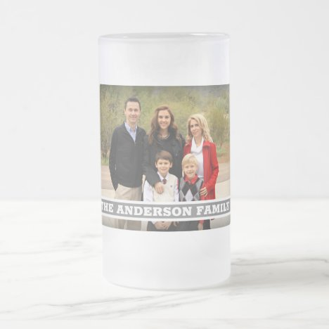 Create Your Own Family Photo Monogram Frosted Glass Beer Mug