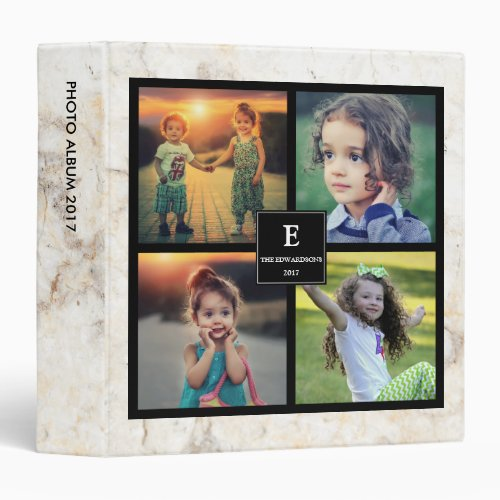 Create your own family photo monogram marble 3 ring binder