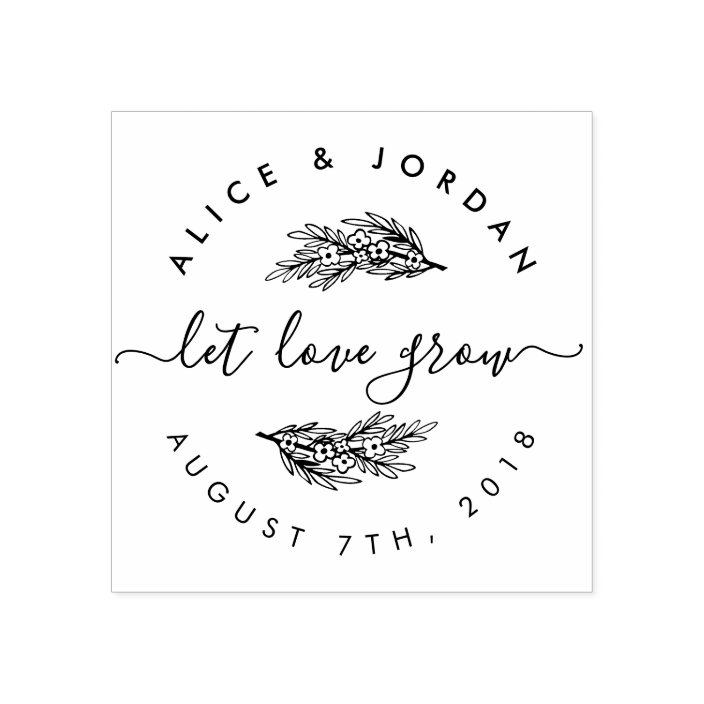 Personalized Custom Return Address Rubber Stamp or Self Inking Seeds Floral Garden Let Love Grow Wedding Date Stamp