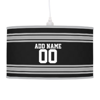 Create Your Own Football Jersey - Black Silver Hanging Lamp