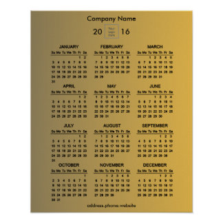 Create Your Own Gold Business Promo 2016 Calendar Poster