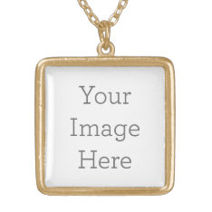 Create Your Own Gold Finish Square Necklace at Zazzle
