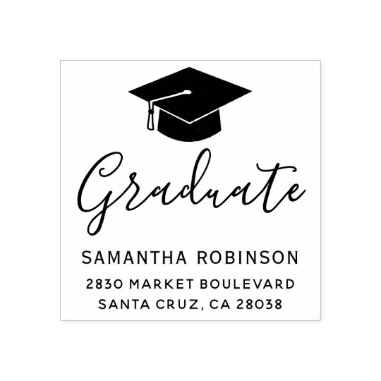 Design Your Own Rubber Stamp: Create Your Own Graduation Cap Return Address Wood Rubber