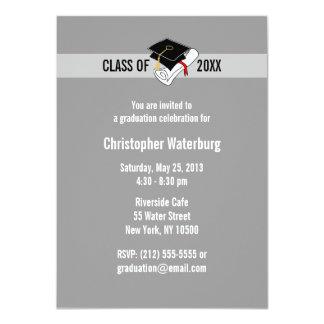 """Create Your Own Graduation Invitation Gray 10 4.5"""" X 6.25"""" Invitation Card"""