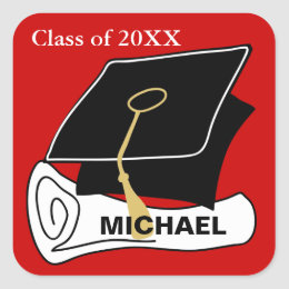 Create Your Own Graduation Sticker Cap Red