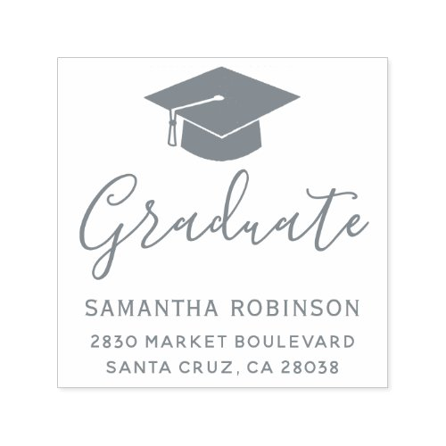 Create Your Own Gray Graduation Cap Return Address Self_inking Stamp