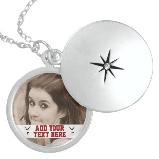 Create Your Own Gymnast Custom Add Photo Keepsake Round Locket Necklace