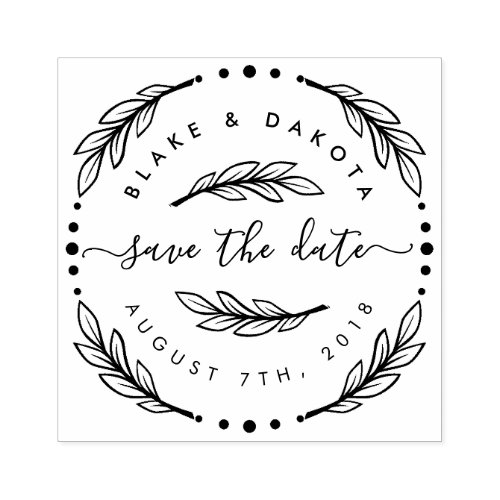 Create Your Own Hand Drawn Wreath Save The Date Rubber Stamp