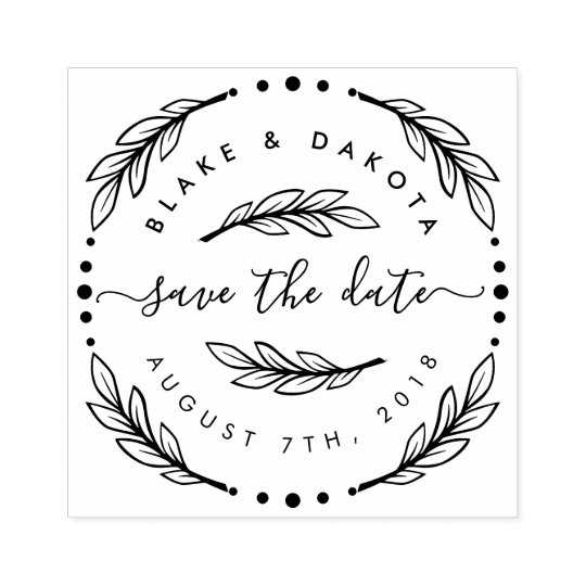 Design Your Own Rubber Stamp: Create Your Own Hand Drawn Wreath Save The Date Rubber